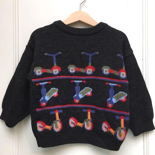 【USED】Kick scooter design knit sweater