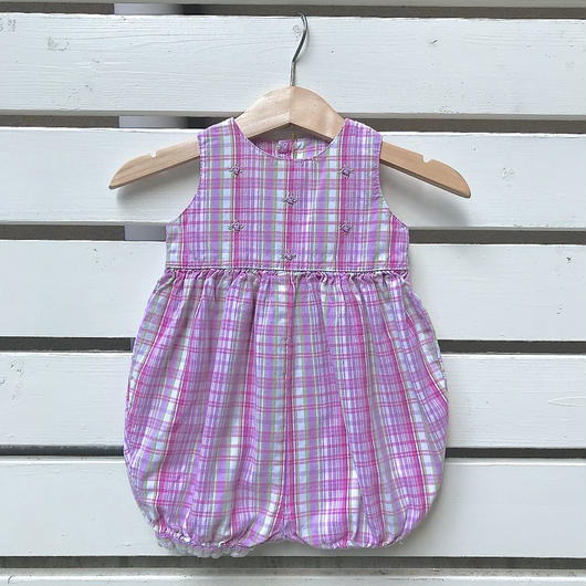 29.【USED】Purple check flower Rompers