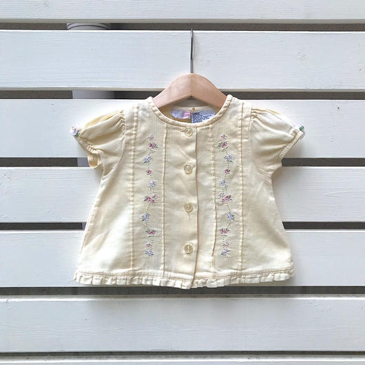26.【USED】Cream yellow Flower design Blouse