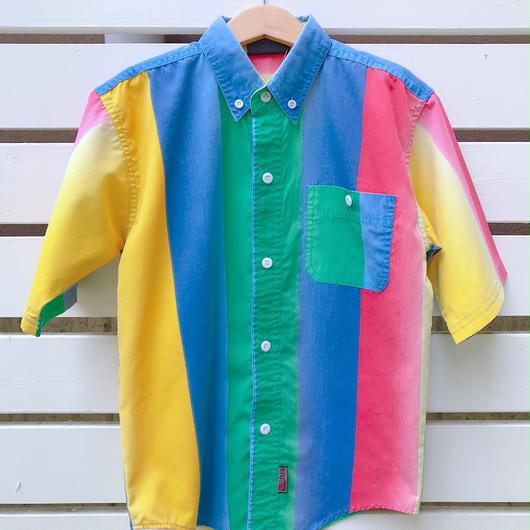 【USED】Colorful stripe shortsleeve Shirts
