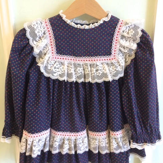 【USED】Navy Tulip print Dress(Made in U.S.A.)