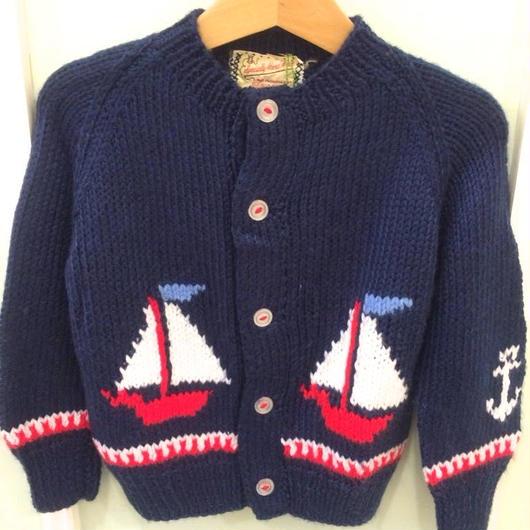 【USED】Vintage Yacht motif cardigan