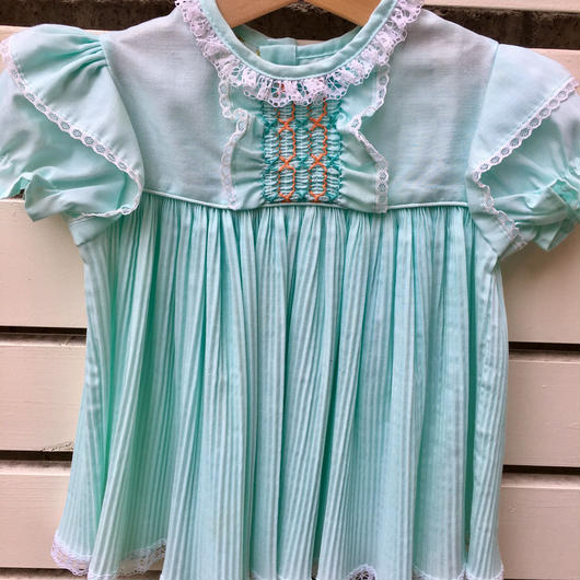 【USED】Mint green Pleats skirt Dress ( Made in U.S.A.)