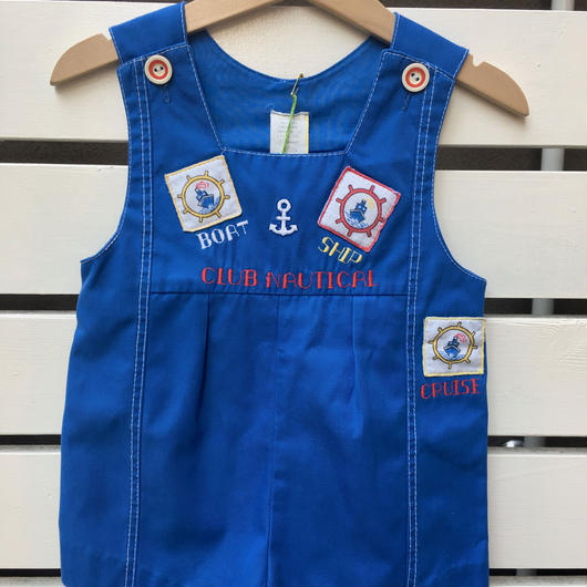 【USED】Boat & Ship motif Blue Rompers