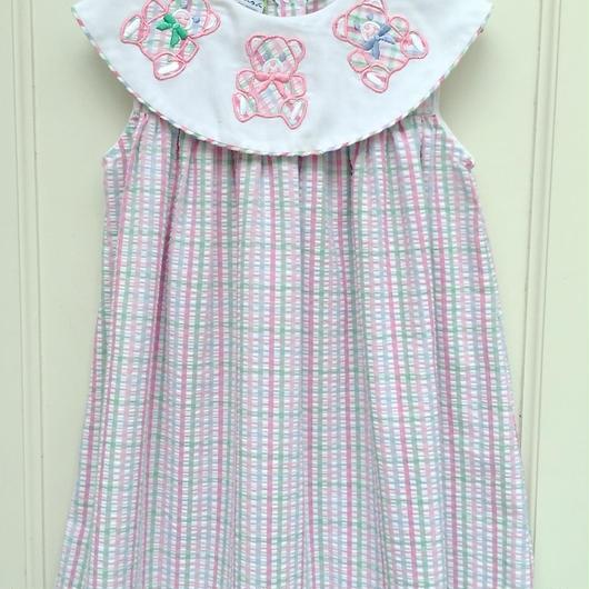 【USED】 《samara》Pastel check Bear Dress