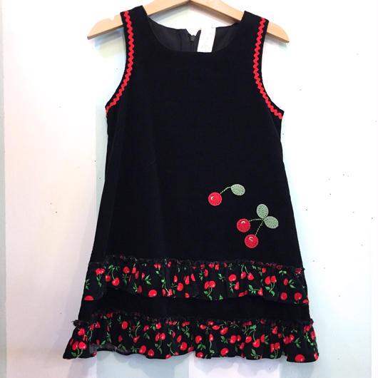 【USED】Cherry motif black Dress