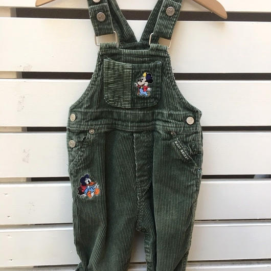 "【USED】""MICKEY & DONALD "" Green corduroy overall"