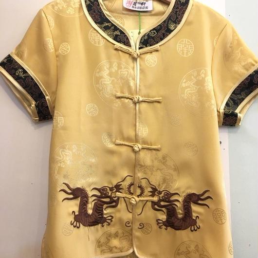 179.【USED】China Dragon motif Yellow Short Sleeve Shirts