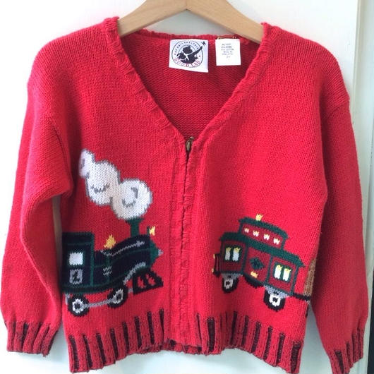 【USED】Train Red Cardigan