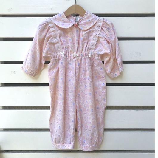 【USED】Pink rose Rompers