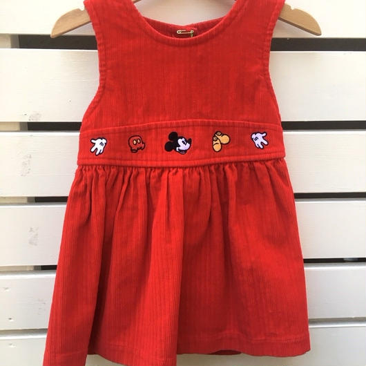 """【USED】"""" MICKEY MOUSE """" motif Red corduroy Dress"""