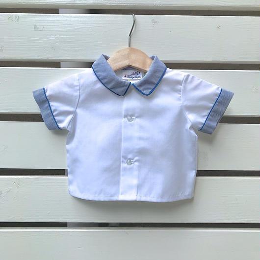 22.【USED】Blue design white Shirts