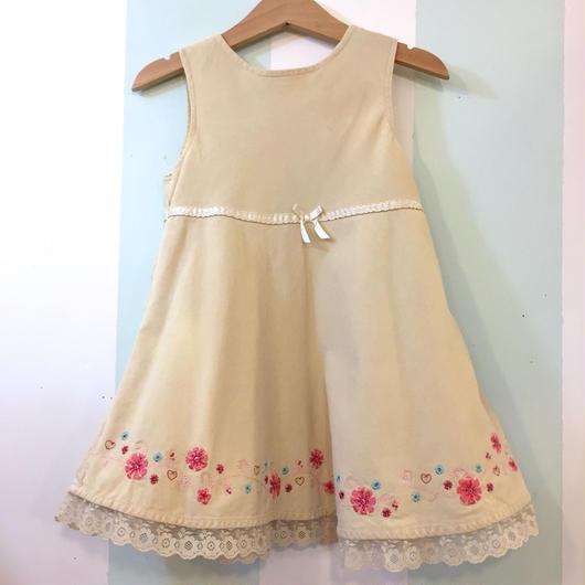【USED】Flower motif beige corduroy Dress