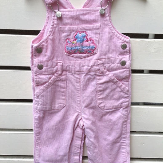 """【USED】""""HARLEY-DAVIDSON"""" swallow motif pastel pink corduroy overall"""