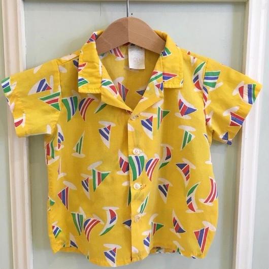 【USED】Yellow print Hawaiian shirt