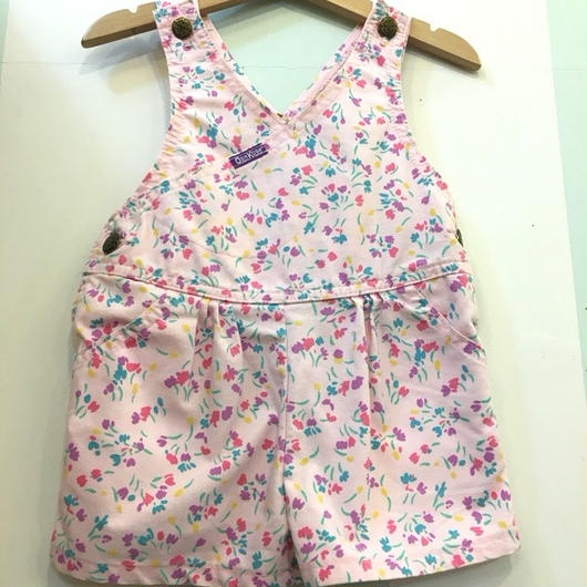 """【USED】""""OSHKOSH"""" OLD Design flower print pink cotton short overall (Made in U.S.A.)"""
