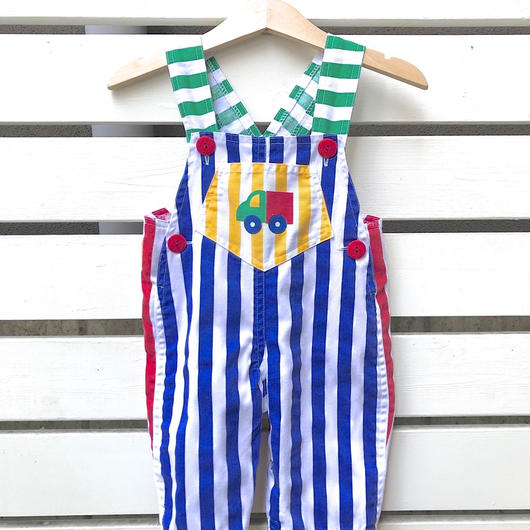 【USED】Color stripe design Rompers