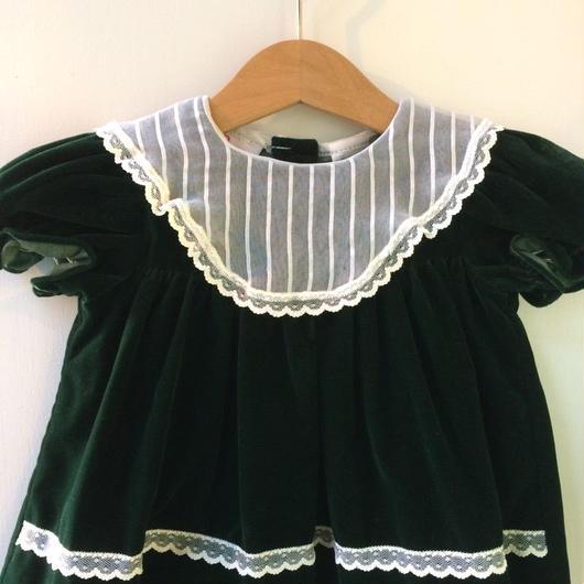【USED】Green velvet Baby dress