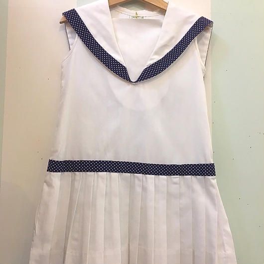 "183.【USED】60's 70's "" KATE GREENAWAY"" Sailor collar Marine Design Dress"