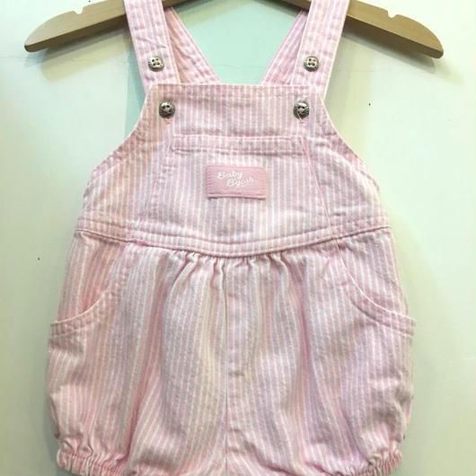 "【USED】""OSHKOSH"" Pink hickory stripe pumpkin overall"