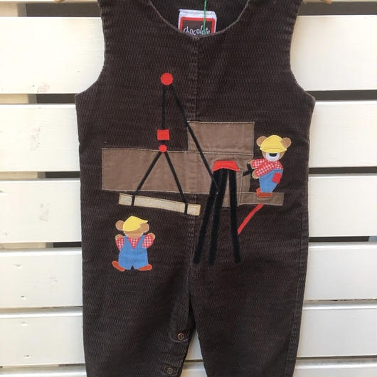 107.【USED】Constructor Bear motif Brown Corduroy Overall
