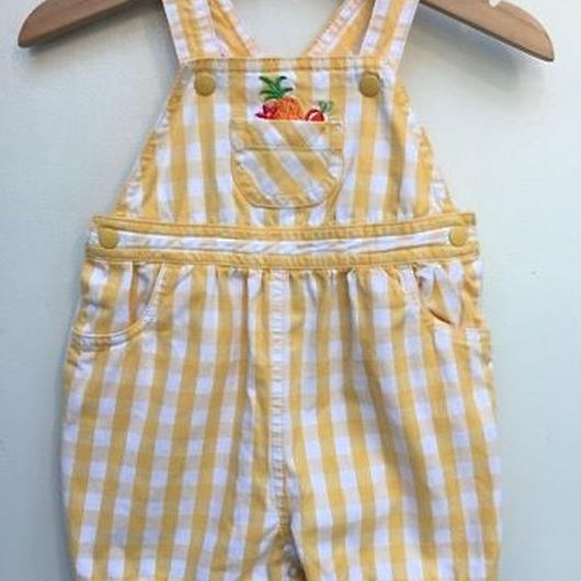 【USED】Yellow Check Fruits Rompers