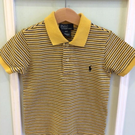 "150.【USED】""Ralph Lauren"" Yellow X Navy stripe Polo"