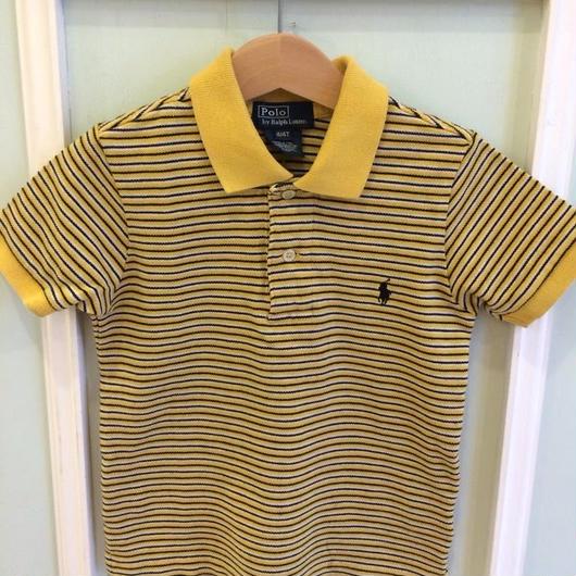 "【USED】""Ralph Lauren"" Yellow X Navy stripe Polo"
