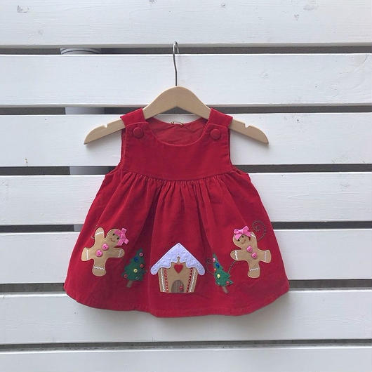 351.【USED】Christmas motif Red Dress