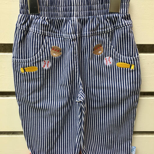 【USED】Baseball motif Hickory stripe cotton pants