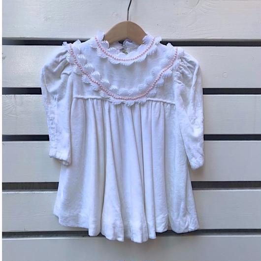 431.【USED】White Perl Frill Dress