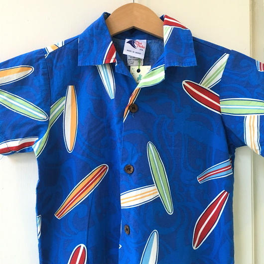 【USED】Surfboard print Hawaiian Shirt (Made in HAWAII)
