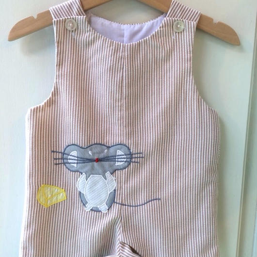 【USED】Mouse and Cheese Stripe rompers
