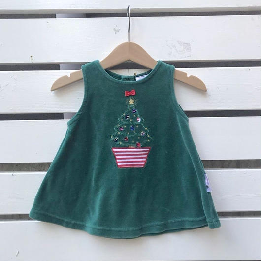 352.【USED】Christmas tree Green Dress