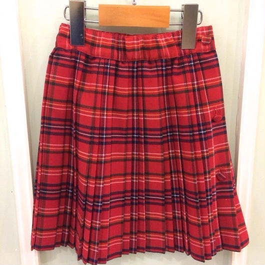 【USED】Check print red pleat skirt