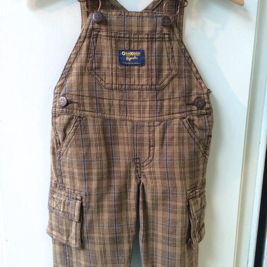 "【USED】""OSHKOSH"" Brown check overall"