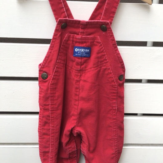 """130.【USED】""""OSHKOSH"""" Red corduroy overall ( made in U.S.A.)"""