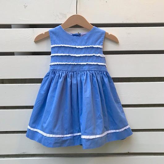 328.【USED】Blue Frill Ribbon Dress