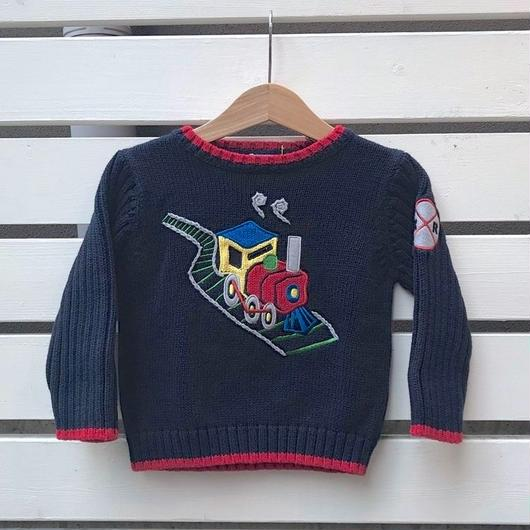 403.【USED】Colorful Train   Knit Sweater