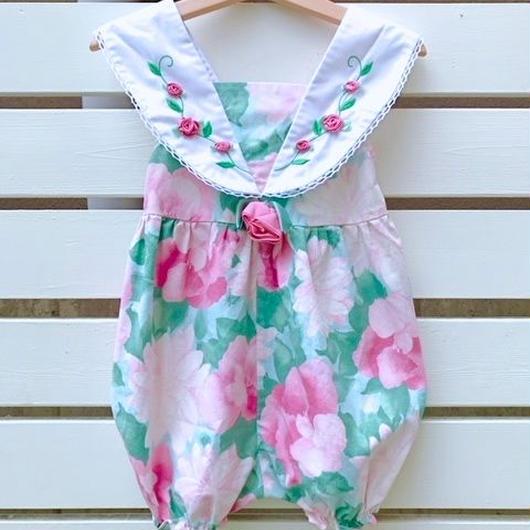 【USED】Pink rose×Flower print Rompers