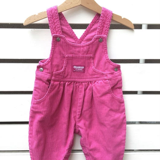 "113.【USED】""OSHKOSH"" corduroy passion pink overall"