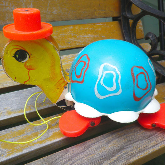 """【USED】62's Vintage """"Fisher Price"""" Pull Along Turtle (Made in U.S.A.)"""
