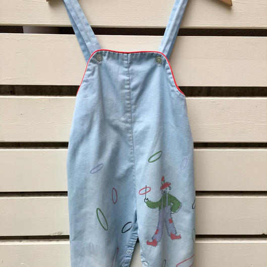 【USED】50' Vintage Pierrot with rings print blue Overall (Made in U.S.A.)