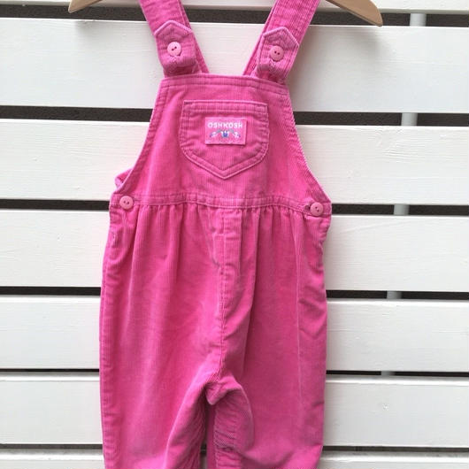 """134.【USED】""""OSHKOSH"""" back ribbon corduroy pastel pink overall(made in U.S.A.)"""