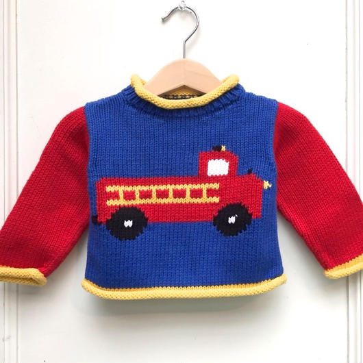 【USED】Fire engine design knit sweater