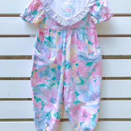 【USED】Flower print big collar Rompers