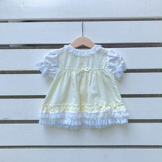 11.【USED】Ginghamcheck Yellow flower lace  Dress