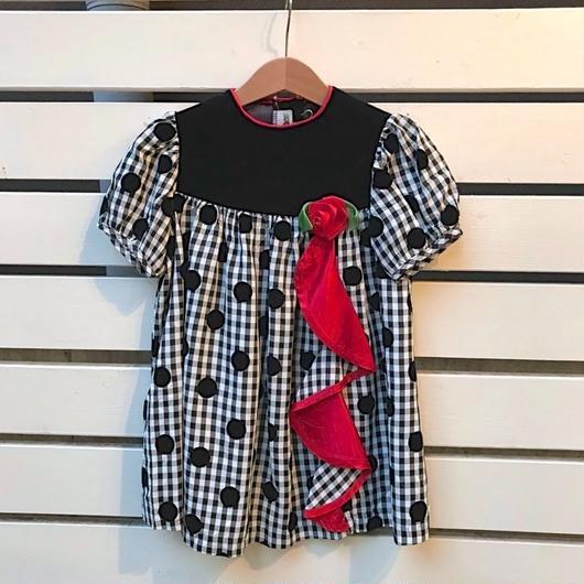 330.【USED】Black Nylon Dot Dress(Made in U.S.A.)