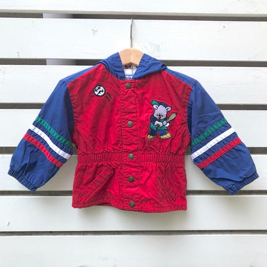 285.【USED】Bear Baseball Nylon Jacket