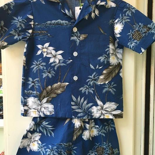156.【USED】flower print Hawaiian Set up (Made in HAWAII)